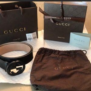 Authentic men's black Gucci belt size 95cm/38in